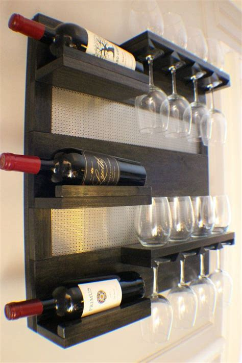 modern and chrome stained wall mounted wine rack
