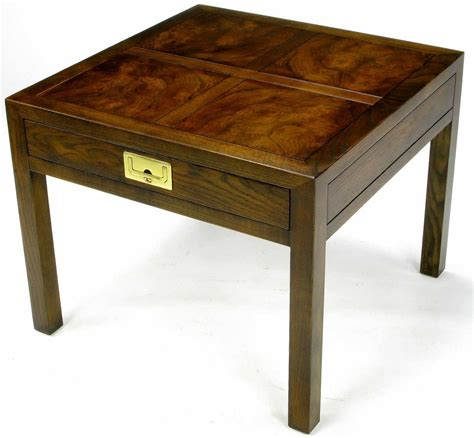 henredon parquetry top burl walnut caign end table at