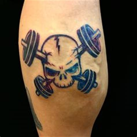 heartbeat dumbbell tattoo kettle ball with dumbbells and skull small mens fitness