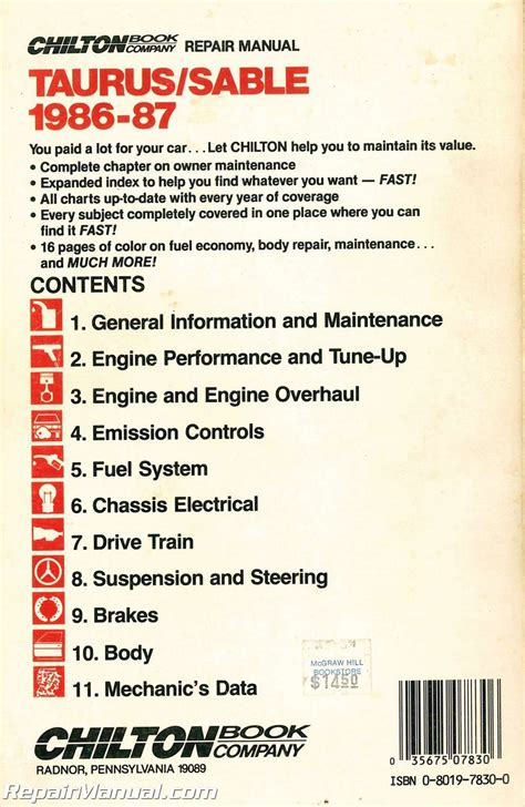 used chilton 1986 1987 ford taurus mercury sable repair manual