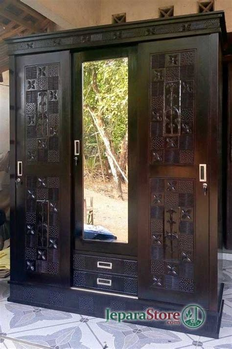 Lemari Kayu Pintu Kaca lemari pakaian 3 pintu sliding kaca jeparastore
