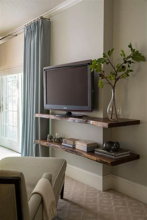 bedroom tv shelf live edge wall shelf with tv transitional bedroom