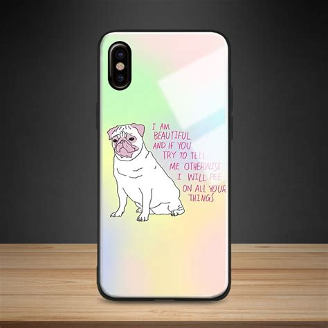 dog quotes pastel aesthetic tempered glass phone case soft