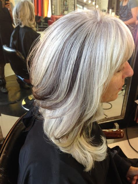 white hair with black lowlights grey hair with lowlights pictures dark brown hairs
