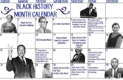 Calendar History Black History Month Calendar The Wilson Beacon
