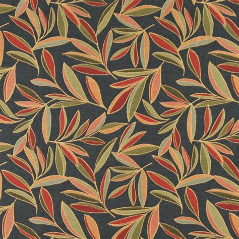 upholstery fabric leaves red green and blue foliage leaves contemporary