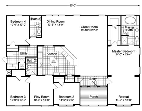 palm harbor floor plans the hacienda scwd60t5 home floor plan manufactured and
