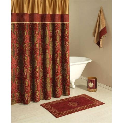 red shower curtains fabric austin horn montecito fabric shower curtain gold red black