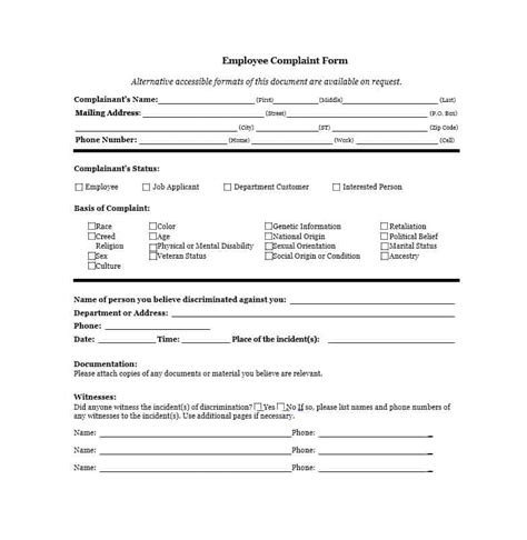 employee complaint form 49 employee complaint form letter templates template