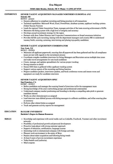 talent acquisition manager resume exle annecarolynbird