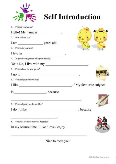 121 free esl introduction worksheets