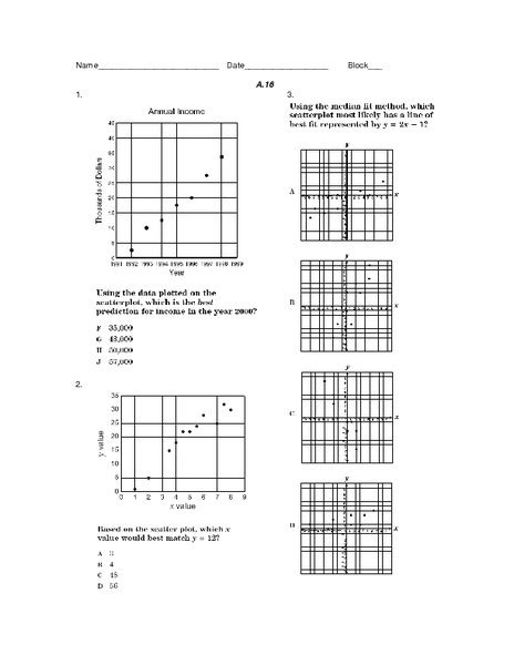 Scatter Plot Worksheet 8th Grade