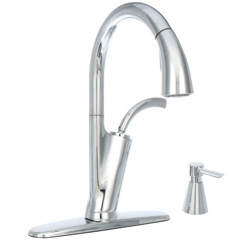 glacier bay single handle kitchen faucet glacier bay heston single handle pull sprayer kitchen faucet with soap dispenser in chrome