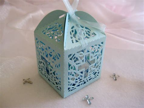 Giveaways For Baptism - 60 pieces holy cross blue favor boxes for christening favors