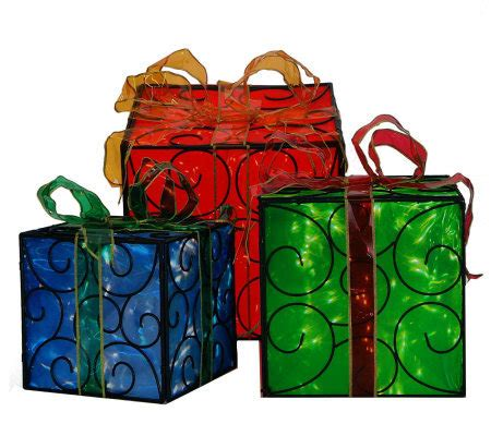 set of 3 lit gift boxes set of 3 lighted gift boxes by sterling page 1 qvc