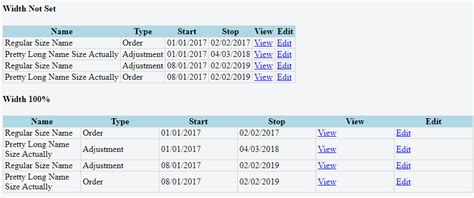 html table column width css html table maintain column width proportion when