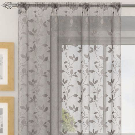 grey voile curtains uk evie floral voile curtain panel grey tonys textiles