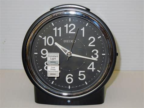 seiko bedside alarm clock black tone metallic  case  quiet sweep qheklh ebay