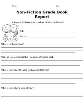 Non Fictional Book Report 2nd Grade And Up By Tanique S Online Store 2nd Grade Book Report Template Free