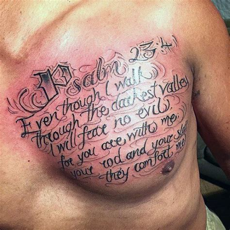 chest tattoos for men religious 25 best ideas about psalm 23 on verse