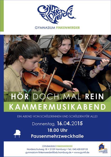 Bewerbungsfrist Referendariat Kammermusikabend Donnerstag 16 4 Um 18 Uhr 171 Gymnasium Finkenwerder