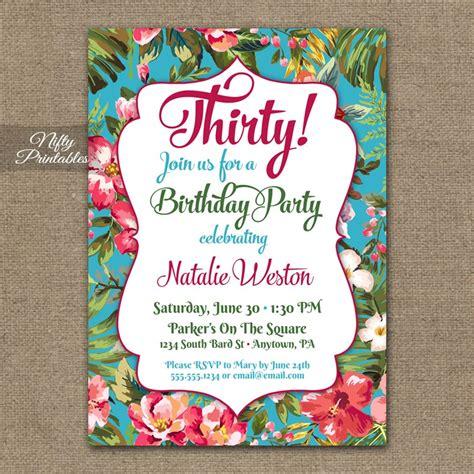 printable birthday invitations luau 6 best images of printable adult birthday party