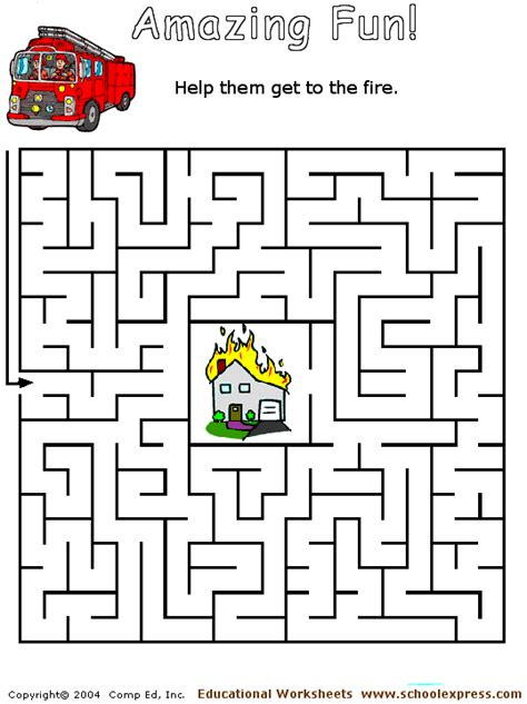 printable fire truck maze free fire engine maze coloring pages