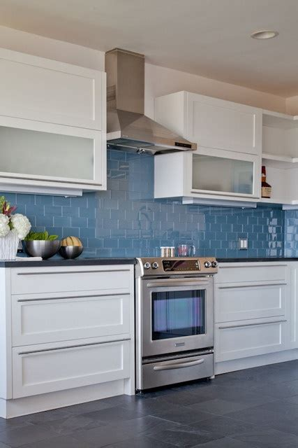 frosted glass backsplash in kitchen like the blue back splash white cabinets with frosted