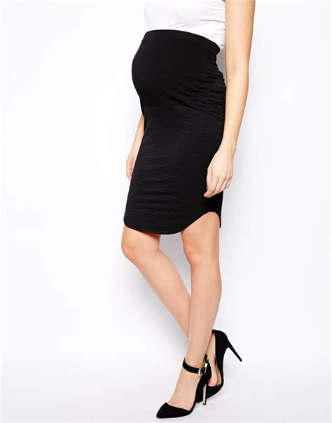 asos maternity pencil skirt with curved hem in texture in