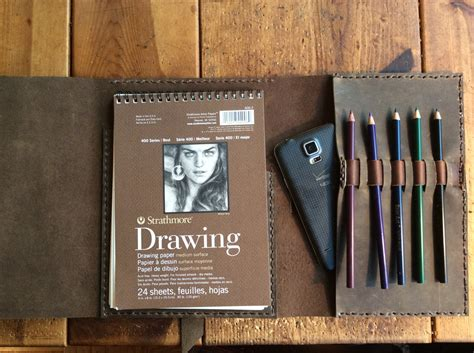 sketch book leather cover leather sketchpad holder pen pencil refillable
