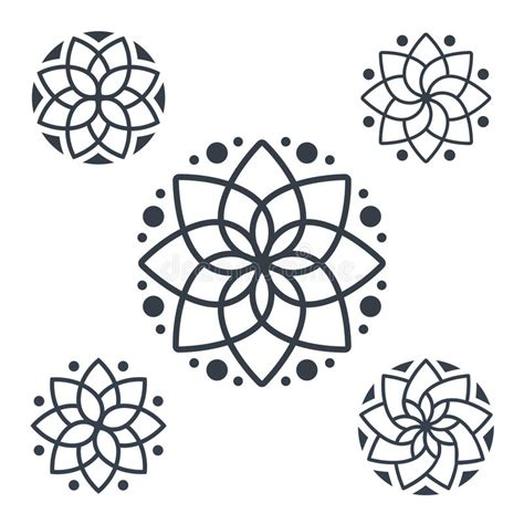 simple geometric mandala logotype circular logo for
