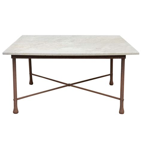 Iron And Marble Coffee Table American 1970s Wrought Iron Coffee Table With Marble Top At 1stdibs
