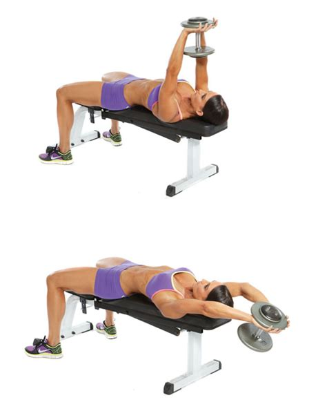 bench dumbbell pullover erin stern s push pull workout oxygen magazine