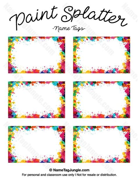 printable name tag color free printable paint splatter name tags the template can