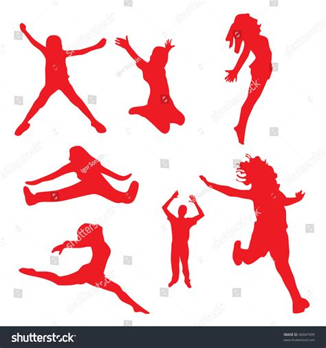Free Search For Peoples Address Silhouettes Of Happy Jumping Peoples Vector Illustration 46047499