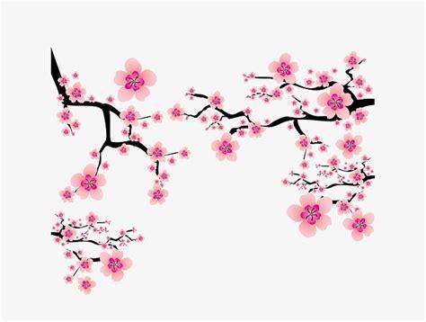 Morning Sun Mini Brush Motif vector rosa elementos japoneses ramas de cerezo en flor