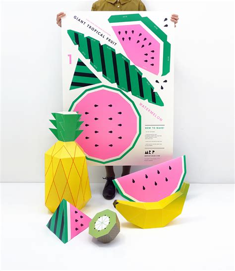 Things To Make With Coloured Paper - tropical fruit printables product design