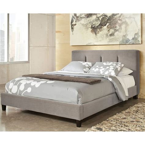 ashley furniture upholstered bed signature design by ashley candiac warm grey upholstered