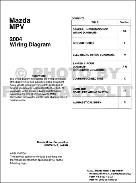 2004 Mazda MPV Wiring Diagram Manual Original