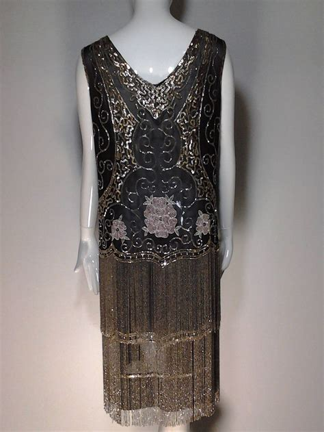 beaded 1920s dress 1920s quintessential deco glass beaded fringe quot flapper