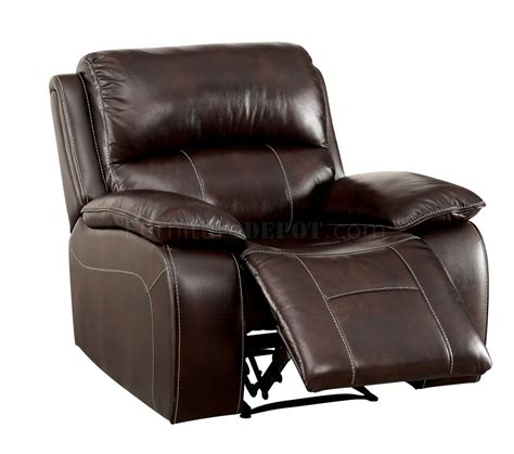 Leather Match Sofa Ruth Reclining Sofa Cm6783br In Brown Leather Match W Options