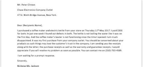 Complaint Letter Of Faulty Product Complaint Letter To Landlord About A