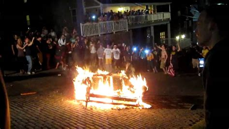 wvu couch couch fire on high st at wvu for osama s death youtube