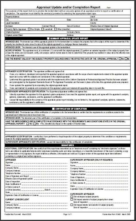 appraisal completion letter appraisal form 1004d images