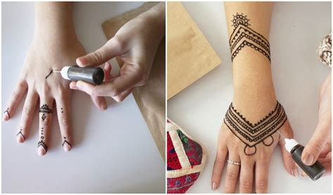 henna tattoo vorzeichnen henna selber machen tipps zum auftragen 35
