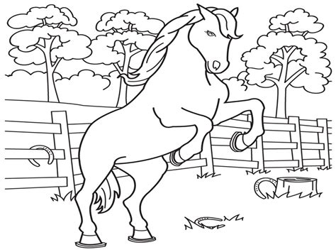 printable mewarnai gambar 54 pemandangan alam gunung binatang kuda berlari
