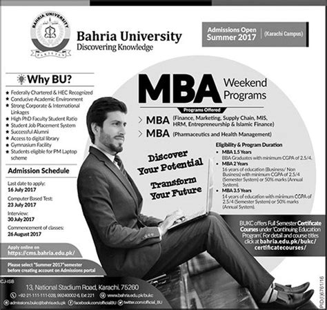 Weekend Mba Programs In Karachi by Bahria Karachi Mba Admission 2017 Mba Entry