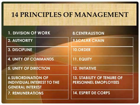 Principles Of Management Notes For Mba by Fayol S 14 Principles Of Organization Semesters In