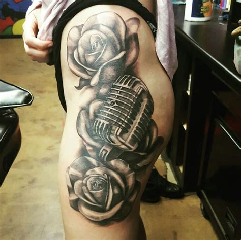microphone and roses tattoo 17 best ideas about microphone on mic
