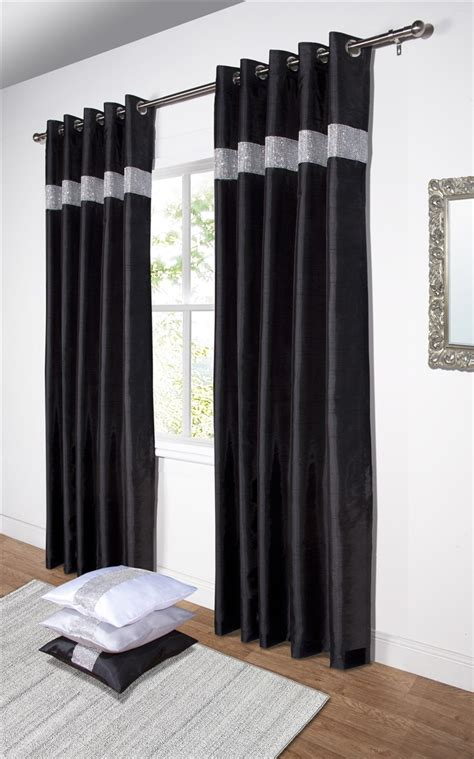 New Luxury Diamante Panel Faux Silk Eyelet Ring Diamante Curtains Curtain Menzilperde Net
